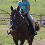 A kid riding a horse.