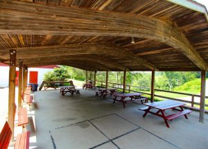 A covered patio pavilion.