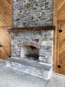 A stone fireplace.